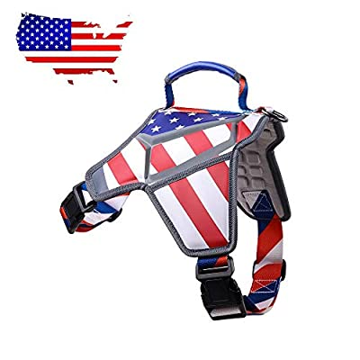 Weetall Massage Dog Harness Vest, No-Pull & Adjustable Pet Harness, American Flag Theme Dog Vest with Reflective Straps