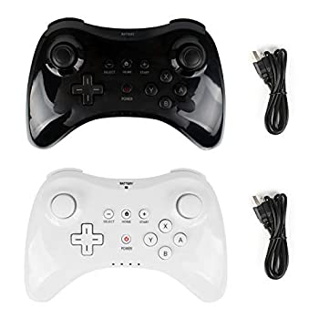 Wii U Pro Controller- Kulannder Wireless Rechargeable Bluetooth Dual Analog Controller Gamepad for Nintendo Wii U with USB Charging Cable  Black+White  2Pack for Kids