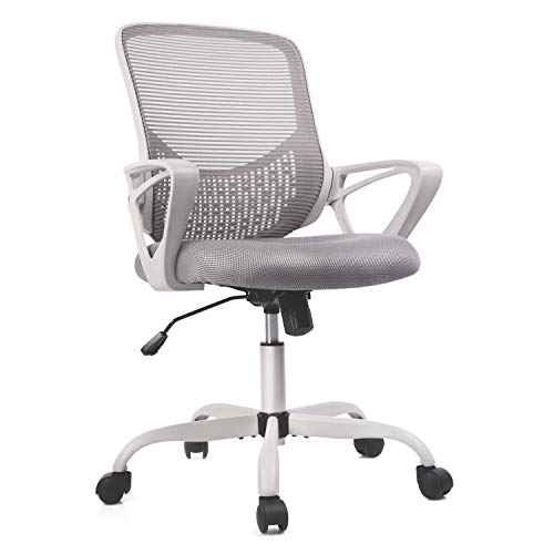 Office Chair, Ergonomic Lumbar Support Mesh Computer Chair Swivel Executive Rolling Chairs with Armrests, Grey