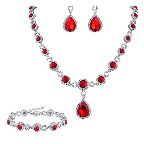 BriLove Wedding Bridal Necklace Bracelet Earrings Jewelry Set for Women Crystal Infinity Figure 8 Teardrop Y-Necklace Dangle Earrings Tennis Bracelet Set Ruby Color Silver-Tone July Birthstone