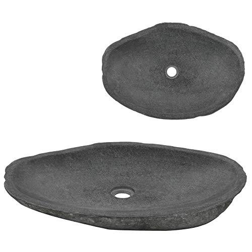 vidaXL Lavabo de Piedra de Río Ovalado Fregadero Fontanería Accesorios Práctico Diseño Elegante Moderno Superficie Grande con Encanto Rústico 60-70cm Piedra Natural