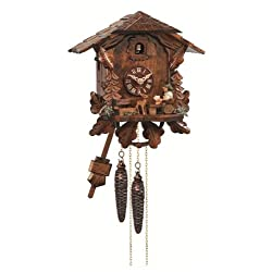 Engstler Cuckoo Clock Black Forest House with Moving Beer Drinker EN 434