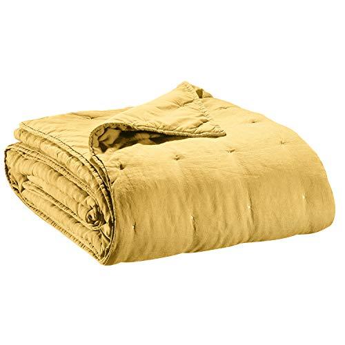 Vivaraise - Jeté de lit et de canapé Zeff – Couverture d'appoint, Couette légère réversible – 100% Coton Stonewashed – Tissage nid d'abeille