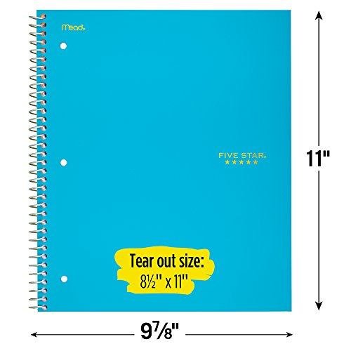 """Five Star Spiral Notebooks, 5 Subject, College Ruled Paper, 200 Sheets, 11"""" x 8-1/2"""", Teal, Yellow, 2 Pack (73509) Photo #4"""