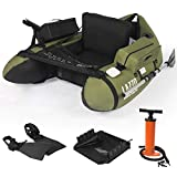 LAZZO Inflatable Fishing Float Tube with Hand Air Pump, Hold up to 286lb, Flotation Boat Includes Storage Pocket, Step in Fins,Inflate Seat & backrest, Rod Holder and Rack, Oar,Fish Ruler, Green