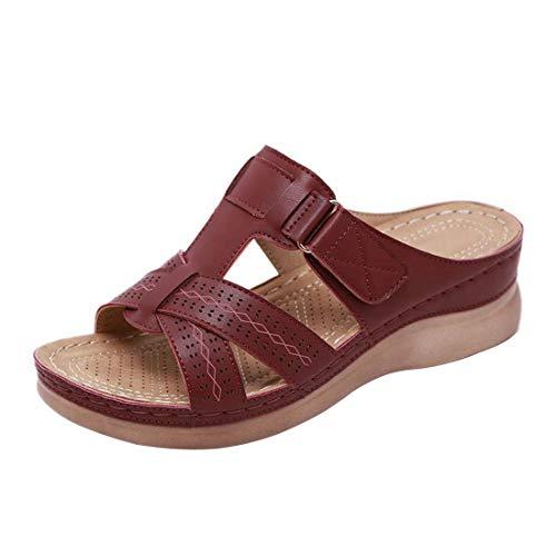 RXLLDOLY Sandalias Zuecos Zapatillas para Mujer Suaves Planas para Exteriores Antideslizantes Zapatos de Playa de Verano Diapositivas Informales con Punta Abierta Sandalias(Vino Tinto,EU 36)