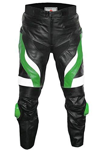 German Wear, Motorradhose Motorrad Biker Racing Lederhose Schwarz/Grün, Größe:56