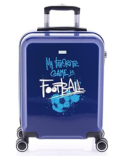 imome Cool Maleta de Cabina Football 55x40x20 cm | Equipaje de Mano, Trolley de Viaje Ryanair, Easyjet | Maleta de Viaje Azul Rígida Divertida Deportes Fútbol Deportes Infantil Juvenil