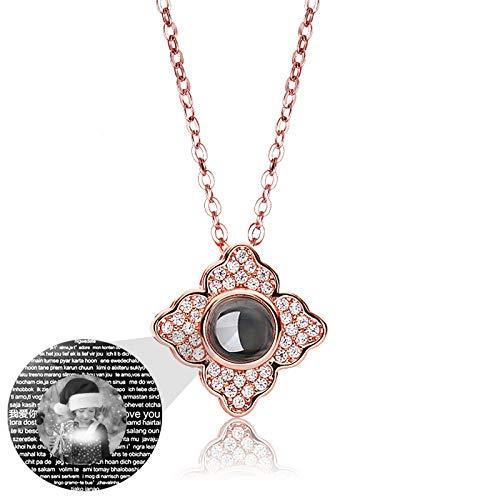 Collar de foto personalizado Collar de proyección personalizado 100 idiomas TE AMO Collar Colgante de trébol Collar de promesa(Oro rosa Blanco y negro 16)