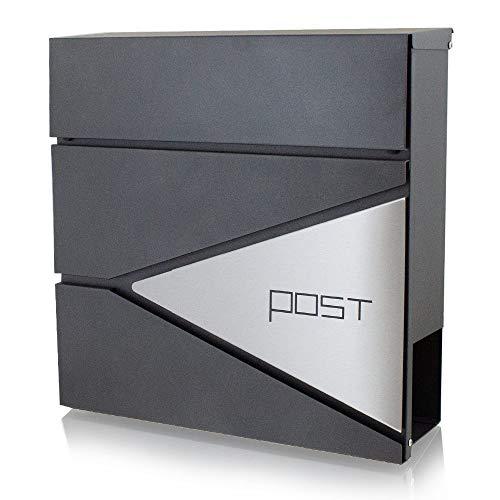 BITUXX® Design Briefkasten Wandbriefkasten Hausbriefkasten Postkasten mit Edelstahlblende Zeitungsfach Anthrazit Graphit Optik