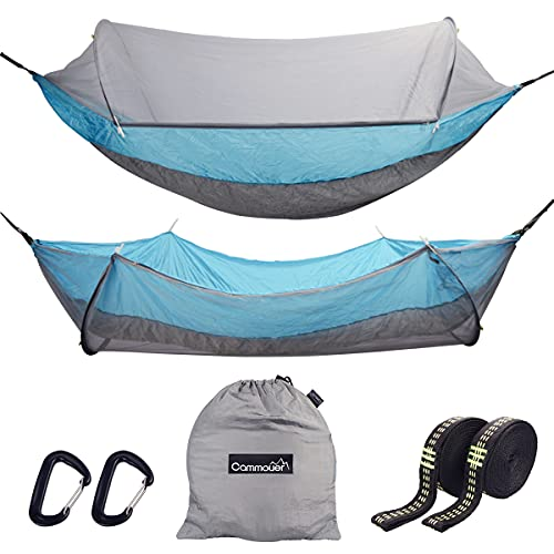 Cammouer Camping 2 Person Hammock for Trees Double Portable Hammock with Mosquito Net Parachute Fabric Travel Bed for Hiking