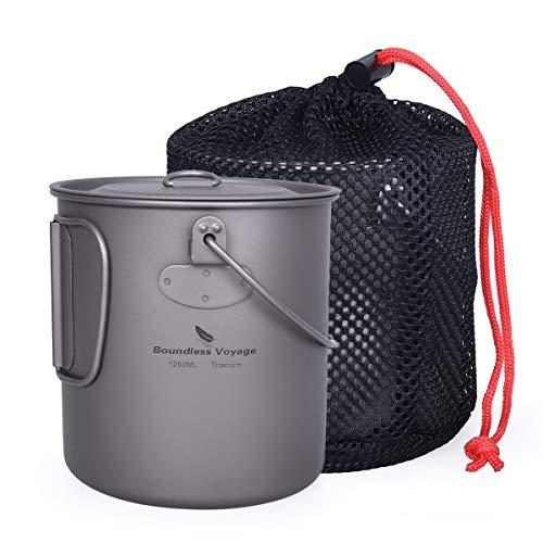 iBasingo Titan Tasse Camping Hängetopf mit Deckel Klappgriff Spork Outdoor Ultraleichter Tee Kaffee Wasserbecher Picknick Kochgeschirr 1250ml Ti15143I