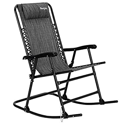 Bonnlo Oversized Zero Gravity Rocking Chair Patio Lawn Chair, Beach Reclining Folding Chairs, Outdoor Portable Recliner for Camping Fishing Beach