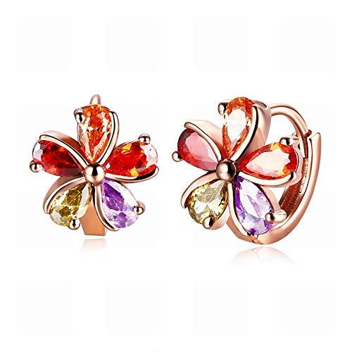 TIANYOU un Par de Pendientes de Diamantes de Cinco Colores en Forma de Flor para Damas Joyas de Oro Rosa/Hipoalergénicos/Peque?os Pendientes Delicados/con Elementos de Cristal