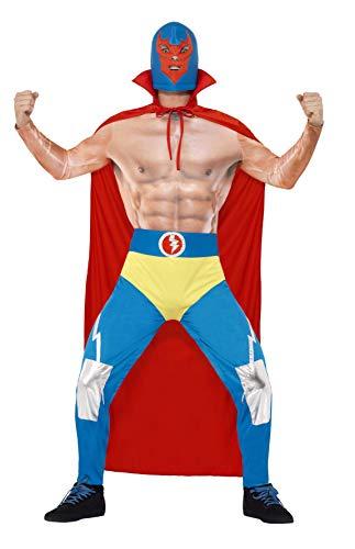 Smiffys 43667L - Mexican Wrestler-Kostüm mit Cape Leggings angebaute Hosen und Maske