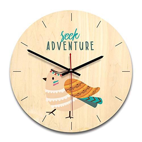YFWDY Reloj De Pared De Madera Relojes Para El Hogar Relojes De Alarma Funciona Con Batería, Patrón Animal De Dibujos Animados Creativos, Simple Mudo Diseño Redondo 28cm