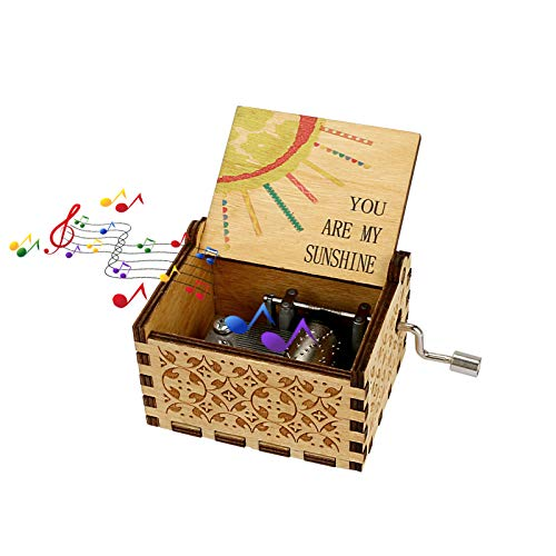 Allnice Music Box Wooden You are My Sunshine Music Boxes Vintage Hand Cranked Musical Box for Her Girlfriends Daughter Mom Love Gifts for Birthday/Christmas/Thanksgiving/Valentine s Day