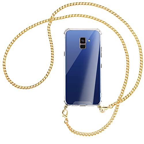 mtb more energy® Handykette kompatibel mit Samsung Galaxy A8 2018 (SM-A530, 5.6'') - Metallkette (Gold) - Smartphone Hülle zum Umhängen - Anti Shock Strong TPU Hülle