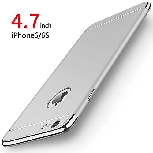 PRO-ELEC iPhone 6/6s Hülle, iPhone 6/6s Schutzhülle [ mit Gehärtetem Glas Bildschirmschutz ] Hochwertigem Stoßfest, Ultra dünn iPhone 6/6s Handyhülle, Schutz Tasche Schale hülle für iPhone 6/6s - Silber