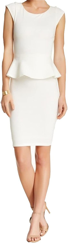 Alice & Olivia Women's Victoria Short Sleeve Peplum Cream Dress
