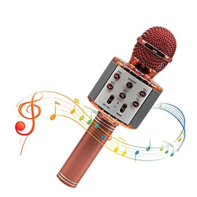 Maxesla Microphone-Wireless Bluetooth Microphone for Kids/Adults, Portable Microphones Player Speaker, Christmas Gift Present for Kids, Compatible with iPhone, Android, PC