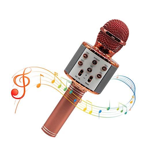 Maxesla Microfono Karaoke Bluetooth-Wireless Karaoke Microfono, Portatile KTV Karaoke Player per Cantare, Compatibile con iPhone Android iPad, PC (Oro rosa)