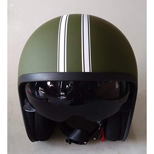DataPrice Awen Casco Moto Abierto Homologado de Hombre y Mujer para Motocicleta, Ciclomotor y Scooter, Bicicleta ECE. Adhesivos y Llavero de REGALO. (M, Awen Arrow Custom Verde Militar)
