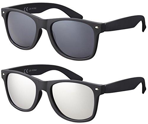 La Optica B.L.M. Herren Sonnenbrille UV400 CAT 3 Damen Unisex Retro Vintage - Doppelpack Set Matt Schwarz (Gläser: 1 x Grau, 1 x Silber Verspiegelt)
