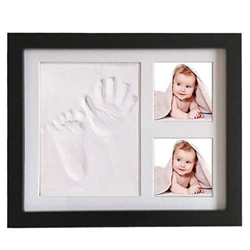 STMMXM fotolijst fotolijst Kit Pasgeboren Baby Handafdruk en Voetafdruk Mold Maker Effen Houten fotolijst Zwart