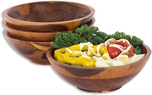 SKEMIX Wooden Bowl for Individual Meal - Pack of 4 Serving bowls...