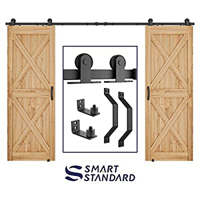"SMARTSTANDARD 12 FT Top Mount Double Sliding Barn Door Hardware Kit -Super Smoothly and Quietly -Simple and Easy to Install -Includes Step-by-Step Instruction -Fit 30"" Wide Door Panel(T Shape Hanger)"