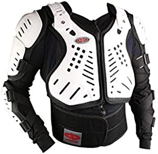 Perrini White/Black CE Approved Full Body Armor Motorcycle Jacket