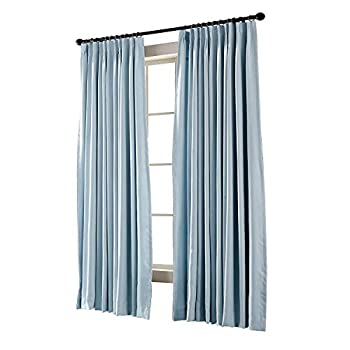 TWOPAGES Pinch Pleated Curtain Sky Blue Blackout Drape 84  W x 96  L for Traverse Rod and Track  1 Panel