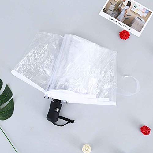 Umbrella Automatische handmatige paraplu Rain Women Men Sun Auto Compact Folding Windproof Style Clear Windproof Umbrella Mini Rain Stick Cover Clear Women Compact Manually White