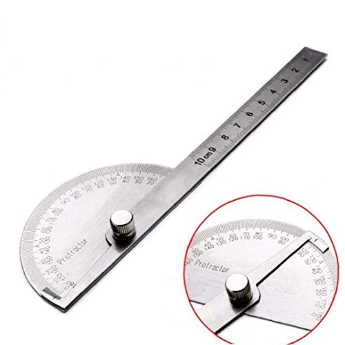 Aisoway 0-180 ° Rundkopf Protractor Edelstahl Winkelsucher Craftsman Lineal Maschinist Werkzeug