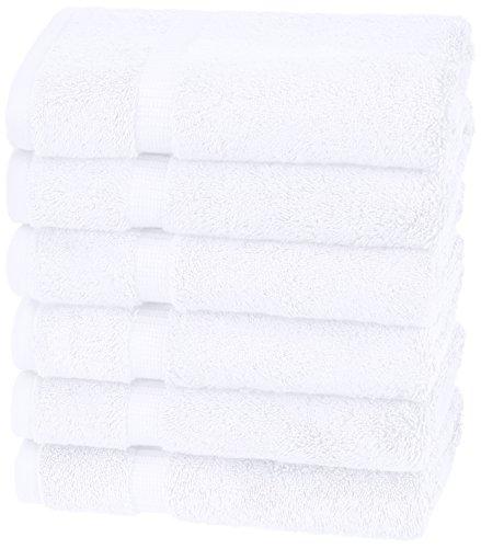 Amazon Brand – Pinzon Organic Cotton Hand Towels, Set of 6, White
