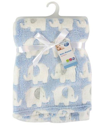 Douce couverture de luxe en polaire pour bébé 75 x 100 cm de « First Steps » pour les bébés à partir de la naissance avec bavoir pour nouveau-né inclus