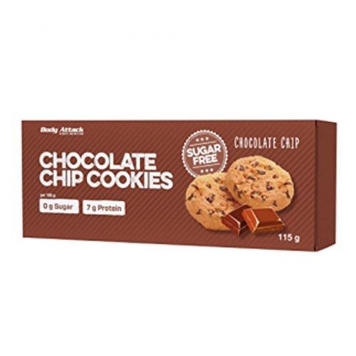 Body Attack-Sugarfree Cookies, kein Zucker aber super Lecker mit 6g Protein/Cookie, knuspriger Keks aus Hafermehl, der perfekte Low Carb Snack für zwischendurch -Made in Germany-5 Cookies (Choc. Chip)