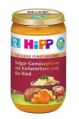 Hipp Für kleine Feinschmecker Menüs, Bulgur-Gemüsepfanne mit Kichererbsen und Bio-Rind, 6er Pack (6 x 250 g)