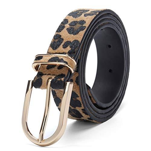 PmseK - Cintura da donna, alla moda per donne e ragazze, con fibbia in metallo e fibbia in PU Giallo 95 cm/30/33