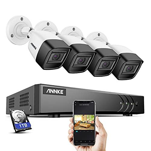 ANNKE S300 Kit de Surveillance Filaires, Enregistrement Audio avec Micro Intégré, 8 Canaux H.265+ DVR et 4 * 5MP Caméras de Surveillance IP67 Etanche, Accès à Distance, Lecture Intelligente,1TB HDD