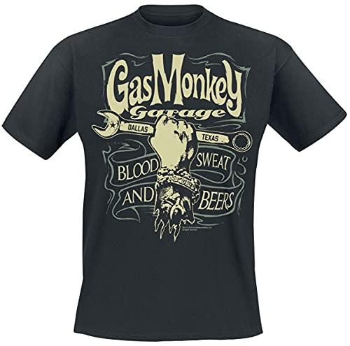 Gas Monkey Garage Garage Wrench Label Homme T-Shirt Manches Courtes Noir L