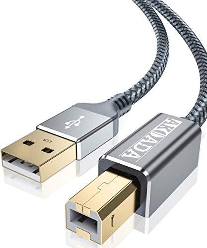 AkoaDa USB Druckerkabel 2M, Scanner Kabel USB A auf USB B 2.0 Drucker Kabel für HP, Canon, Dell, Epson, Lexmark, Xerox, Brother, Samsung usw.