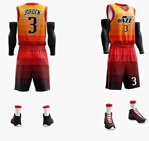 CCKWX Herren-Basketball-Trikots - NBA Utah Jazz # 3 Jorden Trikotset, Kühle Breathable Gewebe Unisex Sleeveless T-Shirt + Shorts,Orange,8XL