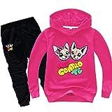 O&K Ragazzi del Bambino Capretti delle Ragazze di Outfits Popolari Personaggi dei Cartoni Animati con Cappuccio Maglioni Felpe Top Pantaloni Copre Gli Insiemi (rosa1, 130cm)