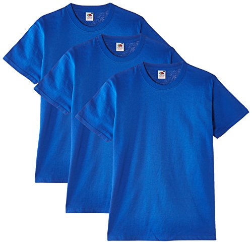 Fruit of the Loom Herren T-Shirt, 3er Pack, Gr. Large, Blau - Königsblau