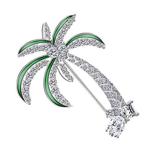 SOIMISS Broche de Palmera de Alfileres de Solapa de Diamantes de Imitación Falda Cárdigan Sombrero Bufanda Pin Chal Pin Luau Hawaiano Tropical Verano Playa Regalos