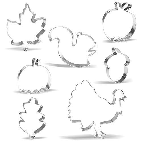Groß Fallen das Erntedankfest Ausstechform Set - 7 Stück - Truthahn, Eichhörnchen, Kürbis, Apfel, Eichenblatt, Stechpalmenblatt, Eichel - Edelstahl