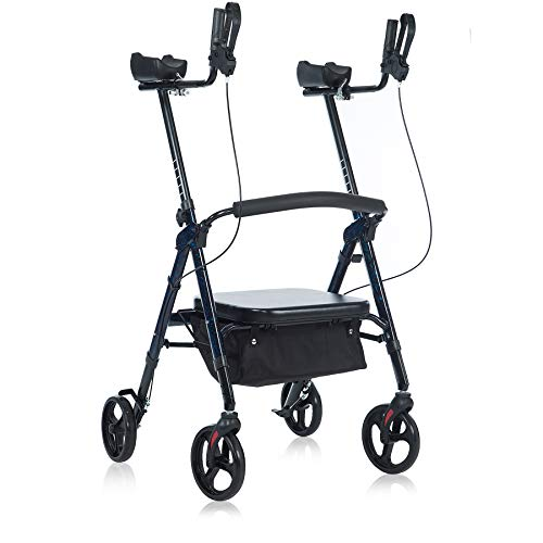 BEYOUR WALKER Heavy Duty Upright Walker with Padded Seat, Supports up to 500lbs, Flame Blue