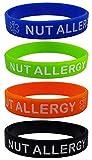 Pulseras de silicona con texto «NUT ALLERGY», 4 unidades, tamaño infantil, color azul, naranja, verde y negro